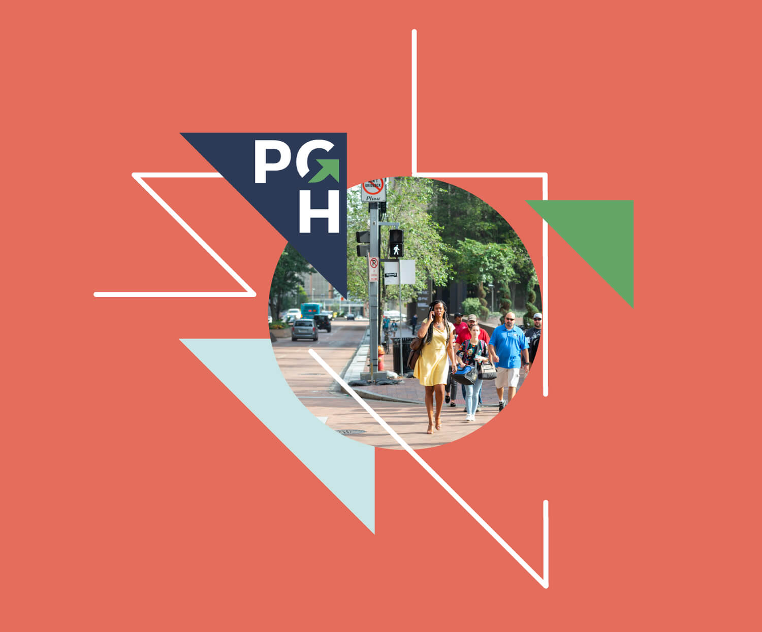A PGH logo surrounded by branded graphics and an image of people walking downtown.